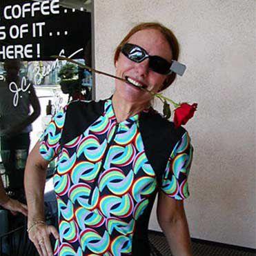 Garrett's mom on her bike