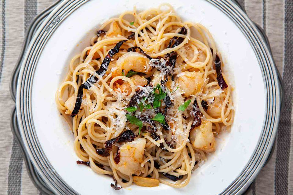 Ancho Chile Shrimp Pasta on a plate