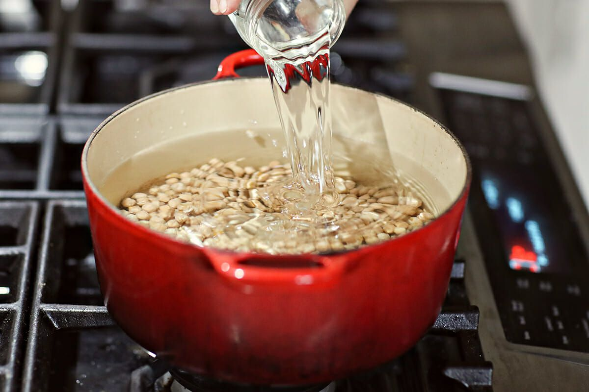 How to Cook Dry Beans add the water