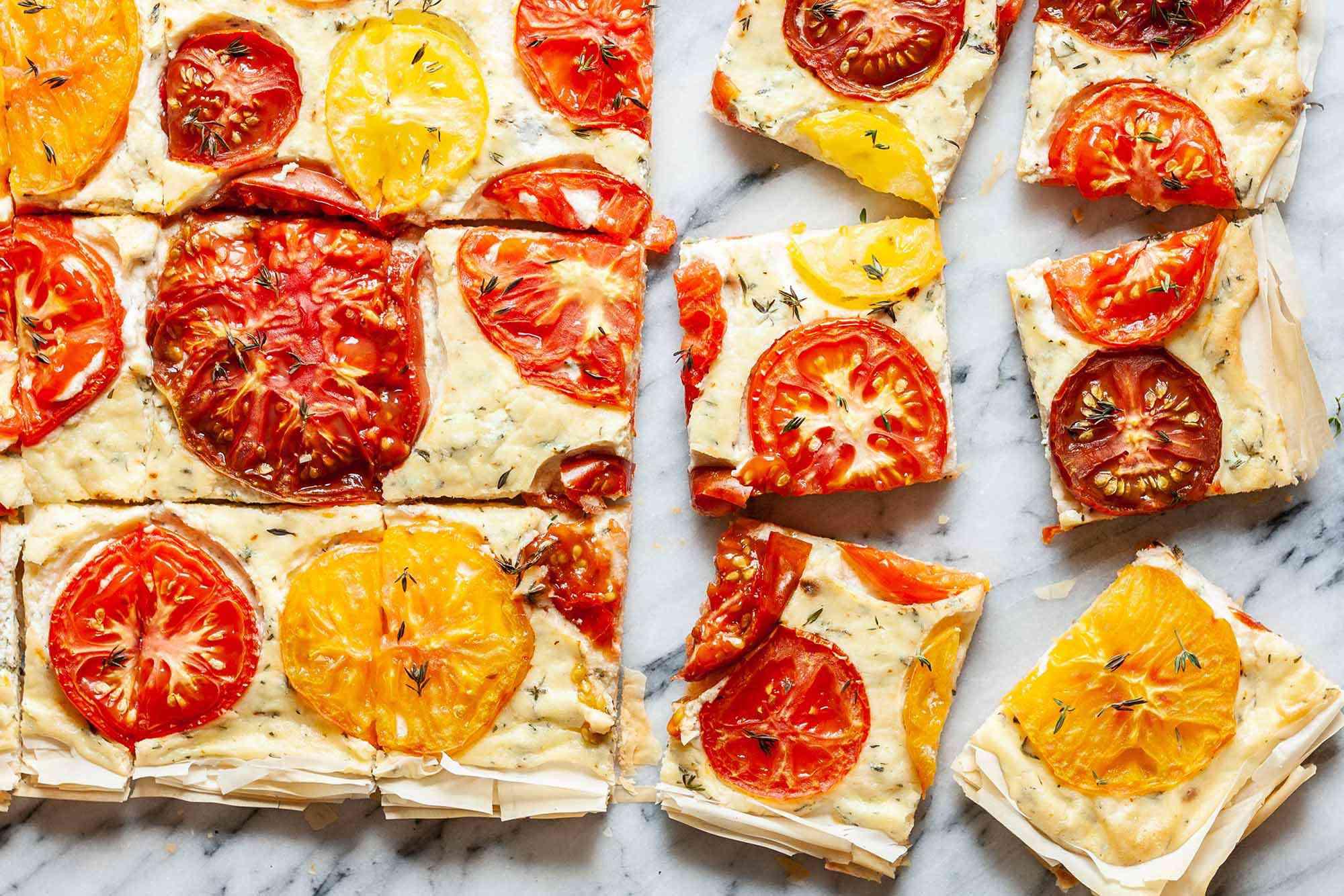 Tomatoe Tart Recipe bake and slice the tart