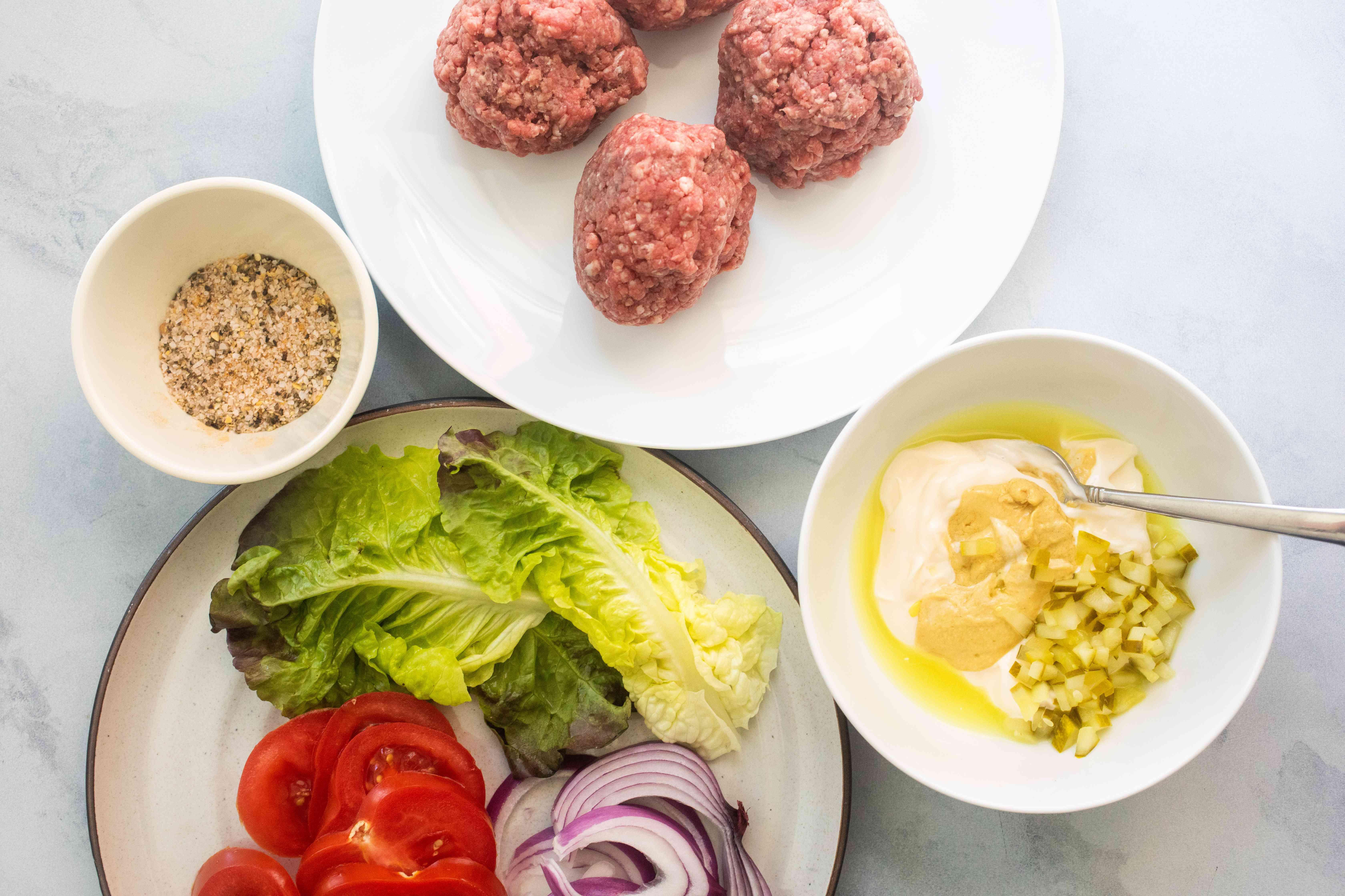 Ingredients to make a smashburger-style burger recipe.