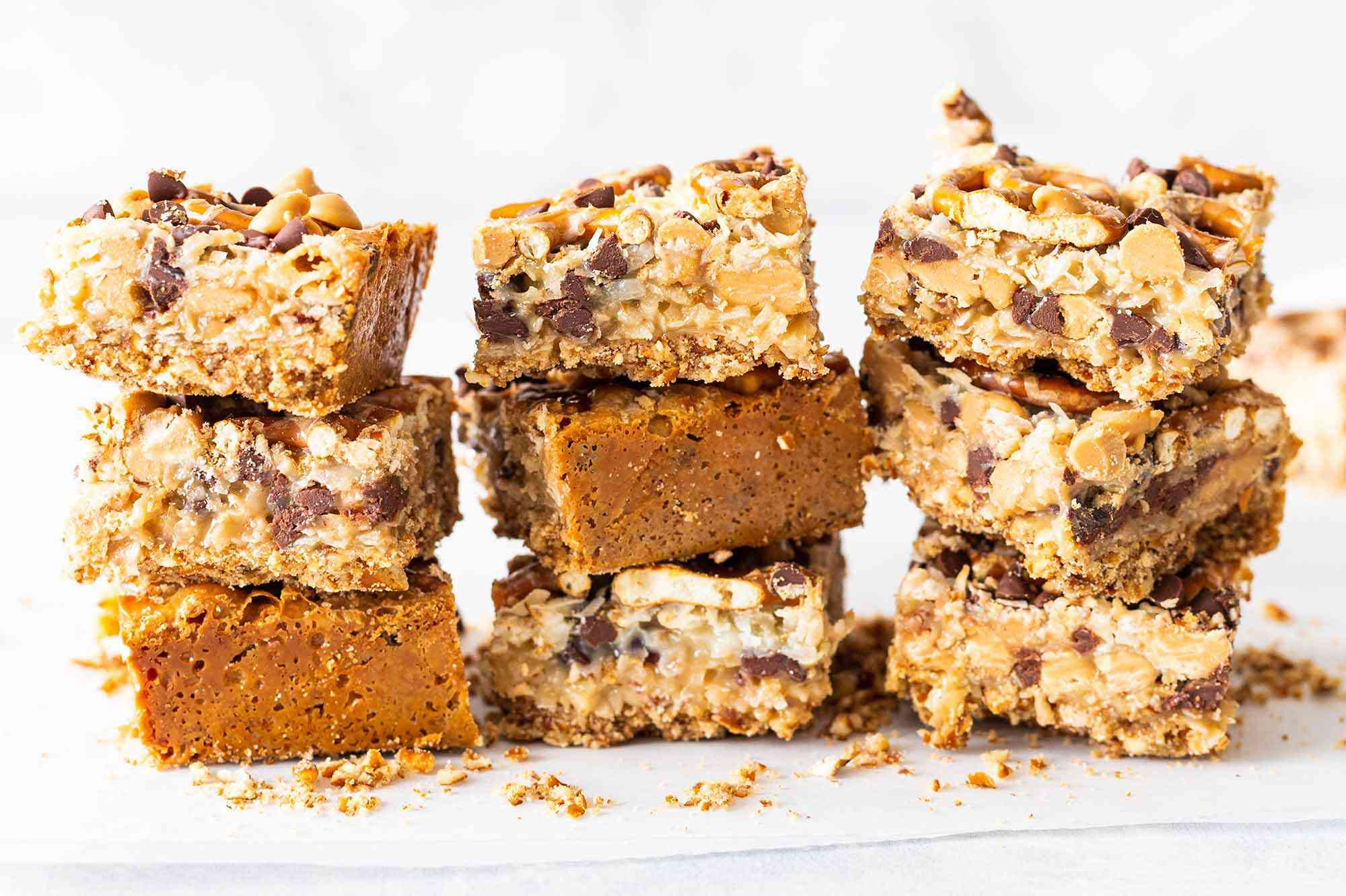 Magic Cookie Bars with Peanut Butter and Pretzels