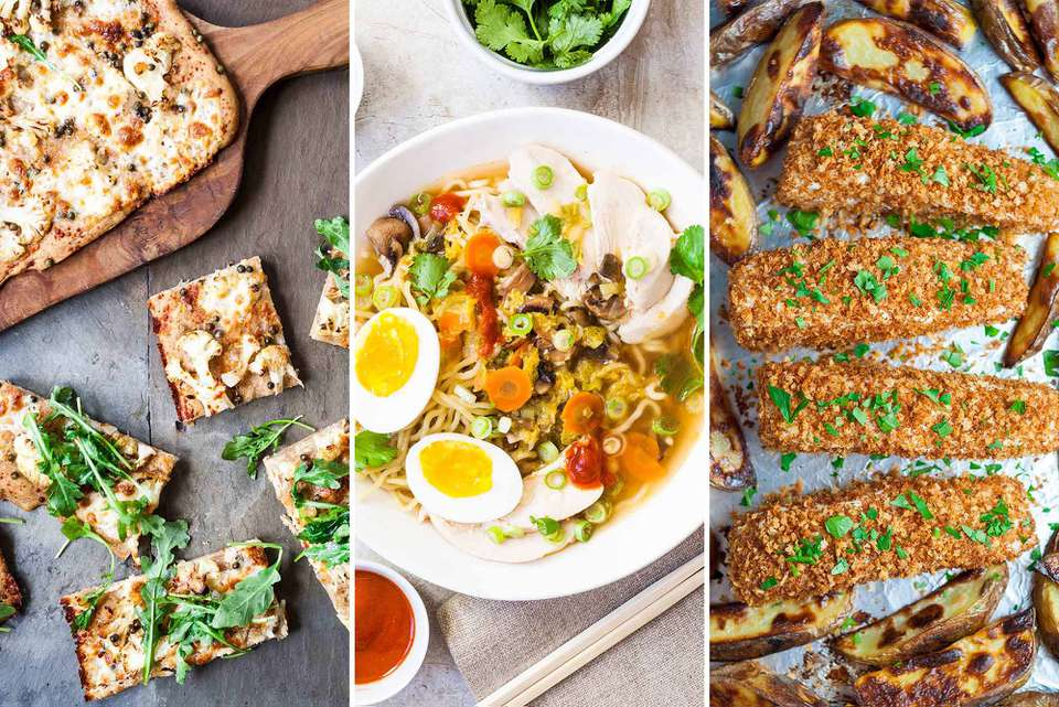 Triptych with pizza, weeknight chicken ramen, and sheet pan fish and chips