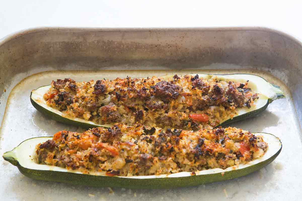 Baked Stuffed zucchini are out of the oven and the filling is crispy.