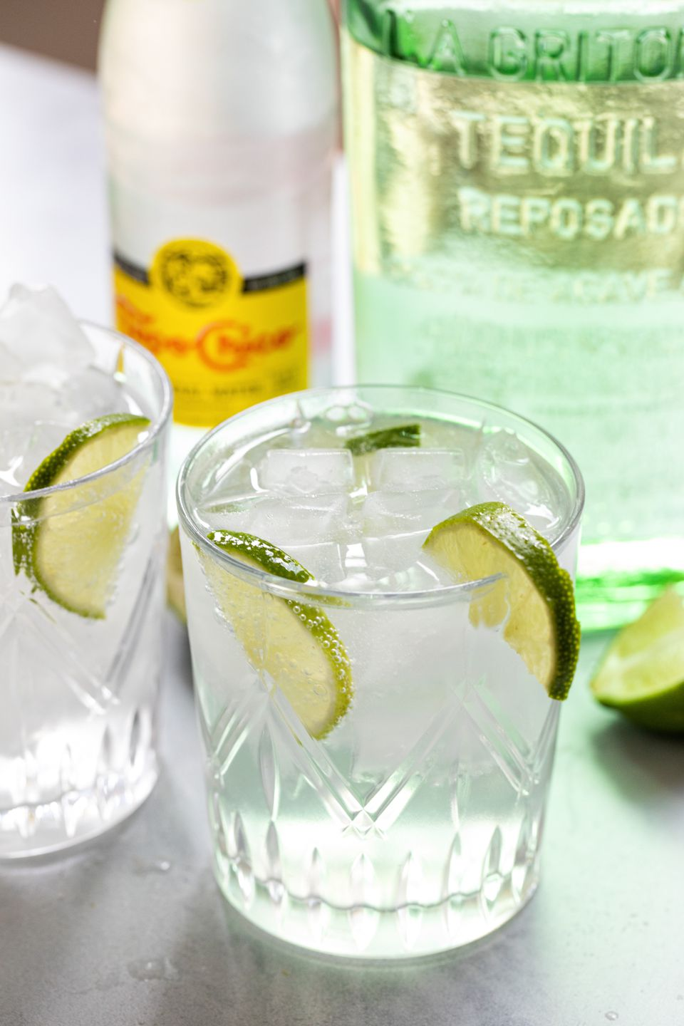 Texas Ranch Water cocktails garnished with lime.