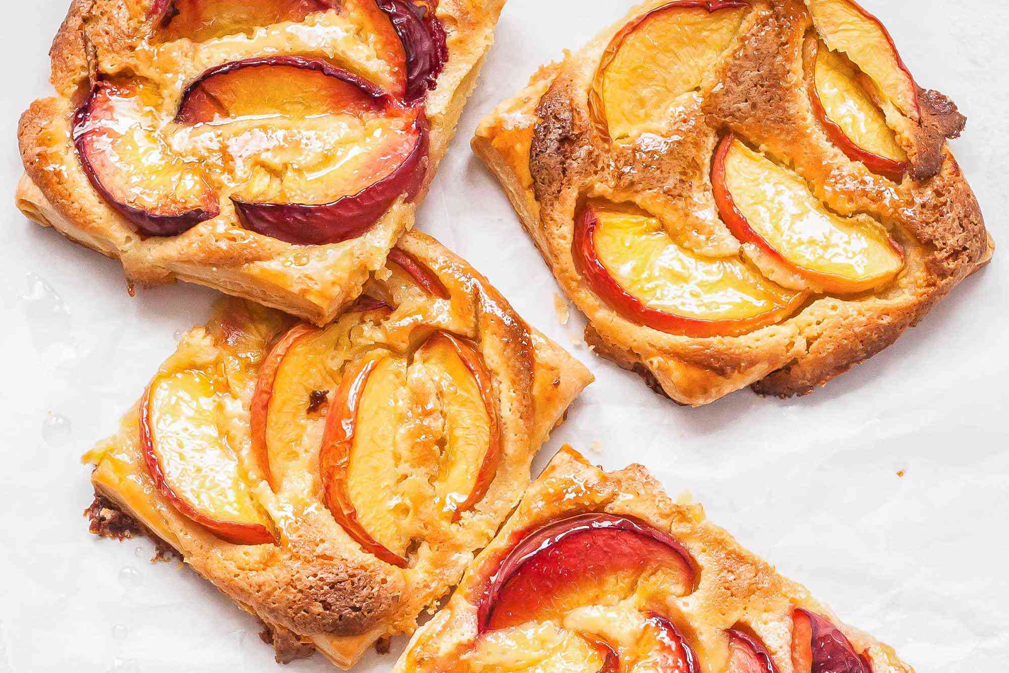 Peach Dessert Recipe - puff pastry targs on parchment