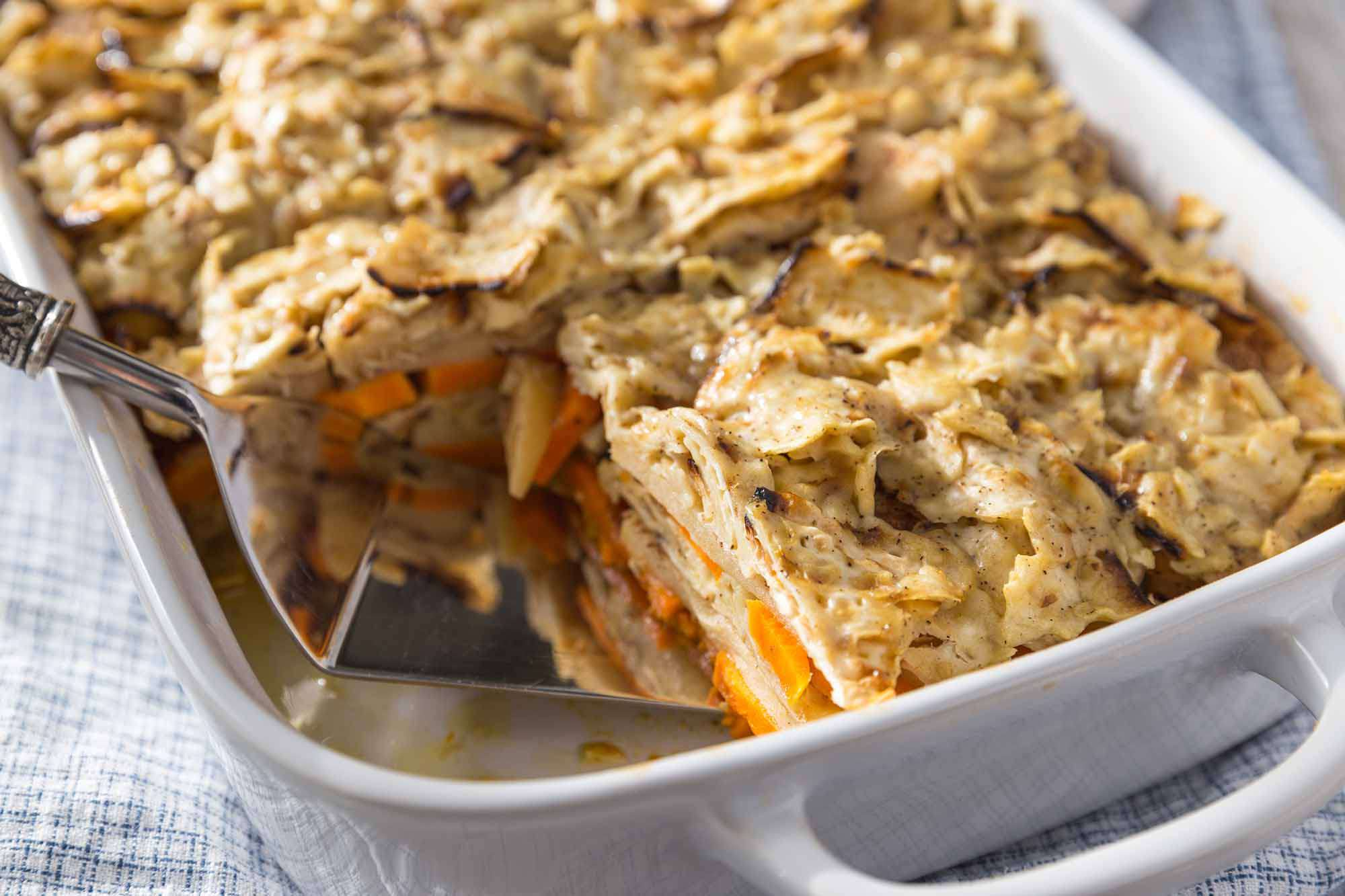Matzo Casserole with Apples and Sweet Potatoes