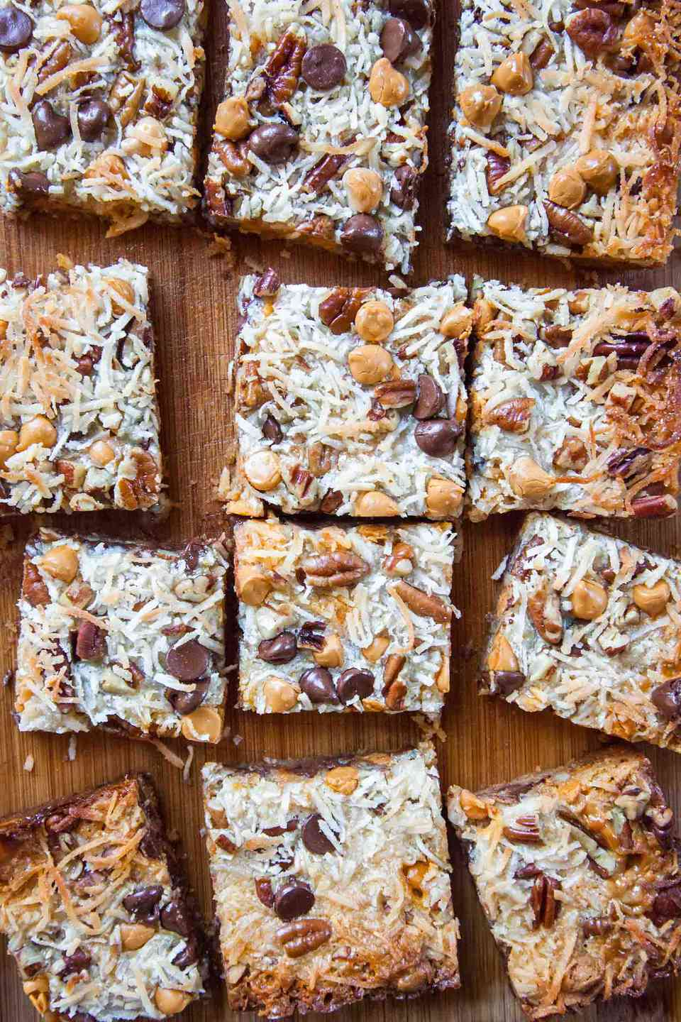 Overhead shot of 7 layer bars on a serving platter