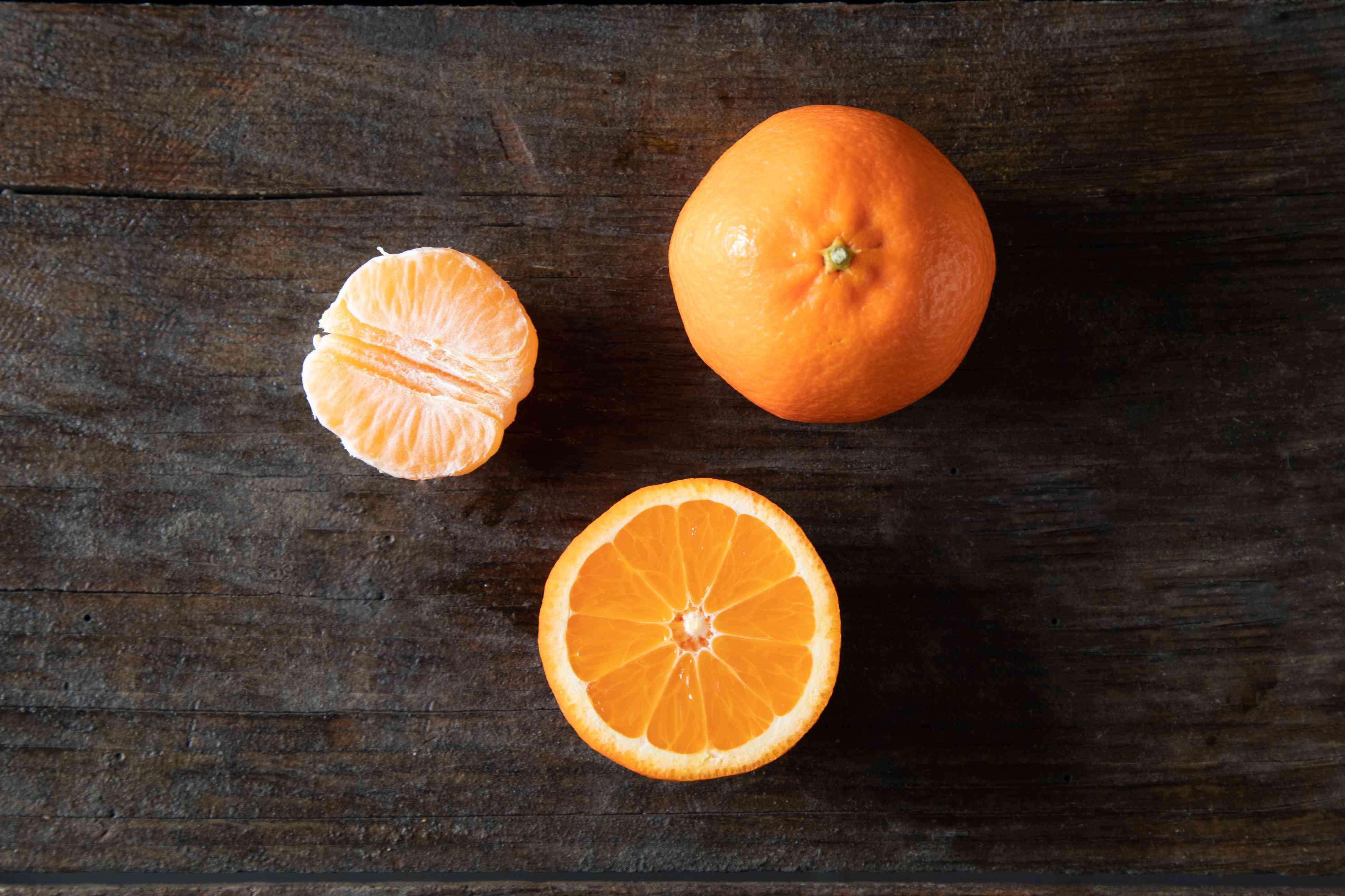 Tangerines on dark background