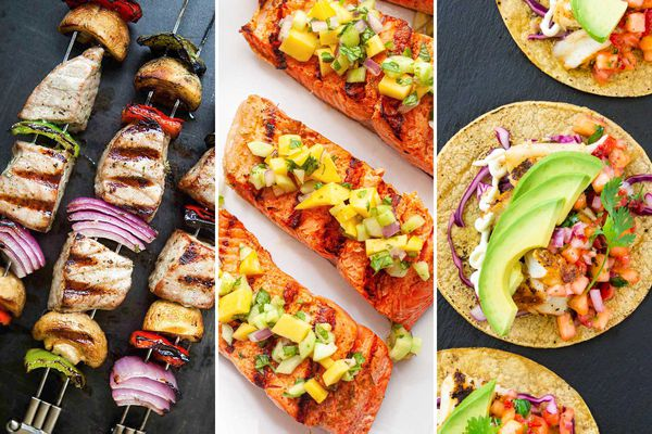 Three photos next to each other for grilled fish entrees. To the left are three tuna skewers layered with red onion and bell peppers. The middle photo shows three salmon fillets topped with mango salsa. The photo to the right are three fish tacos on corn tortillas topped with salsa and avocado.