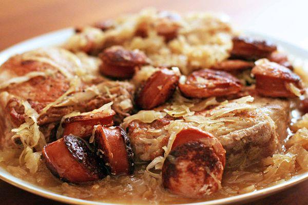 Stuffed Pork Chops with Kielbasa and Sauerkraut