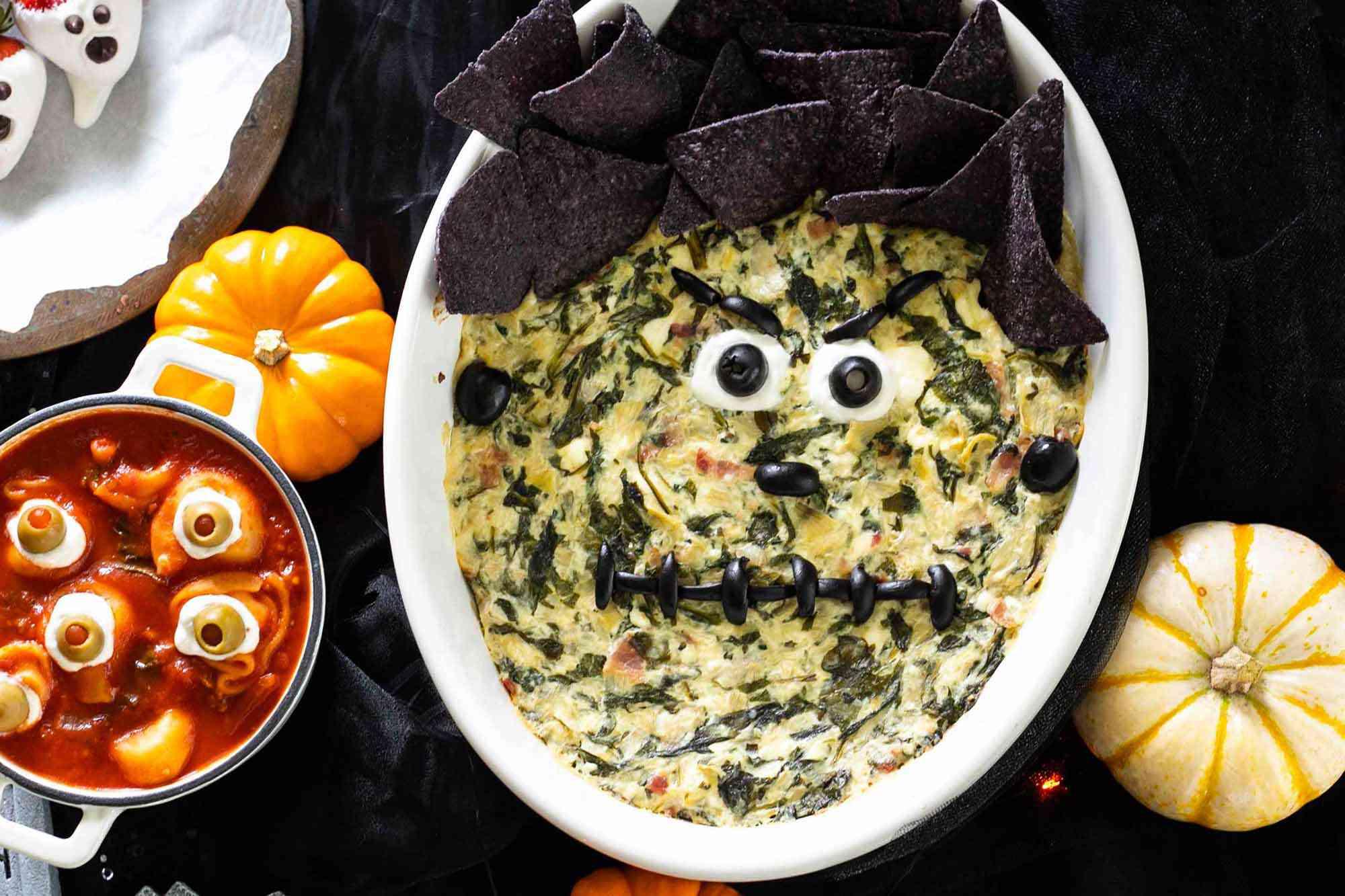 Frankenstein spinach and artichoke dip