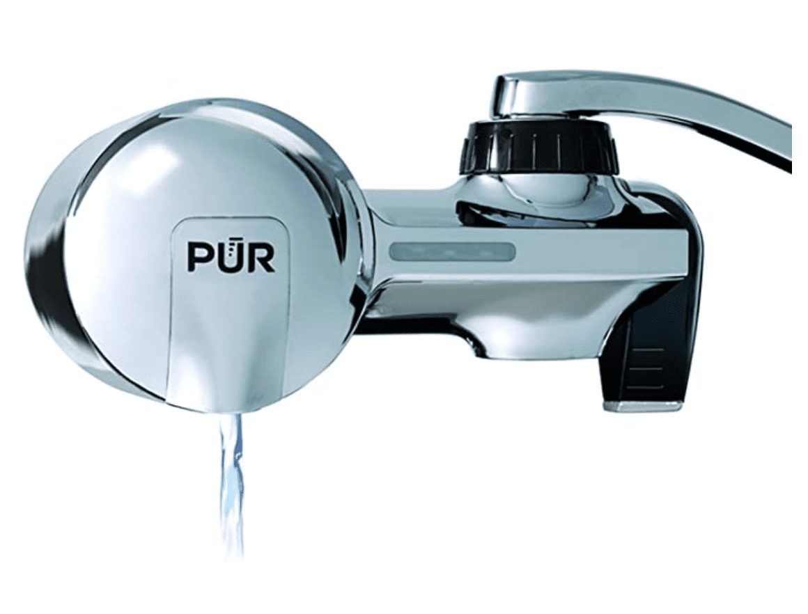 PUR PFM400H Chrome Horizontal Faucet Mount Water Filtration System with 1 MineralClear Filter