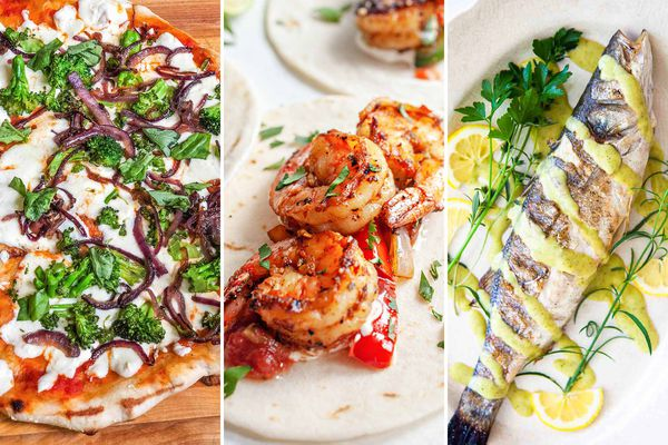 August Meal Plan Week 2 - picture of shrimp, fish, pizza