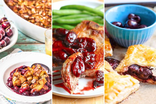 Three photos set next to each other. The photo on the left is a bowl of cherry cobbler. The picture in the center is a pork chop with cherry sauce. The picture to the right are of cherry hand pies.