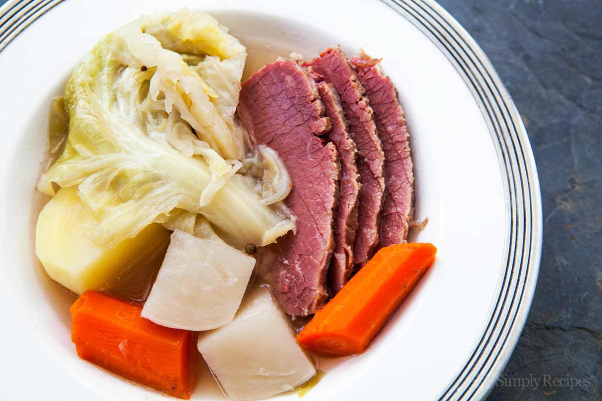 New England Boiled Dinner with potatoes, carrots, cabbage and corned beef