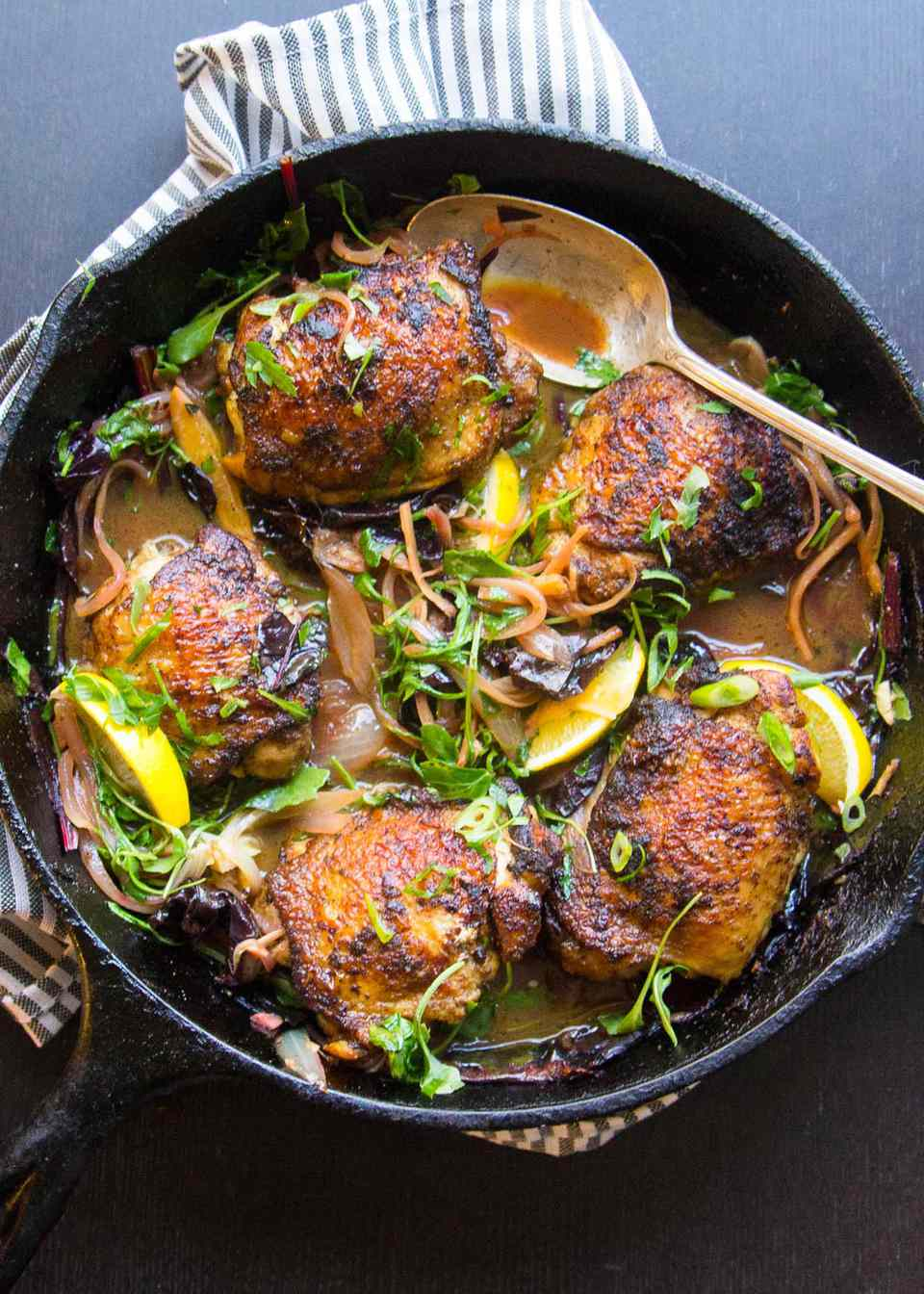 Curried Chicken Thighs with Wilted Greens