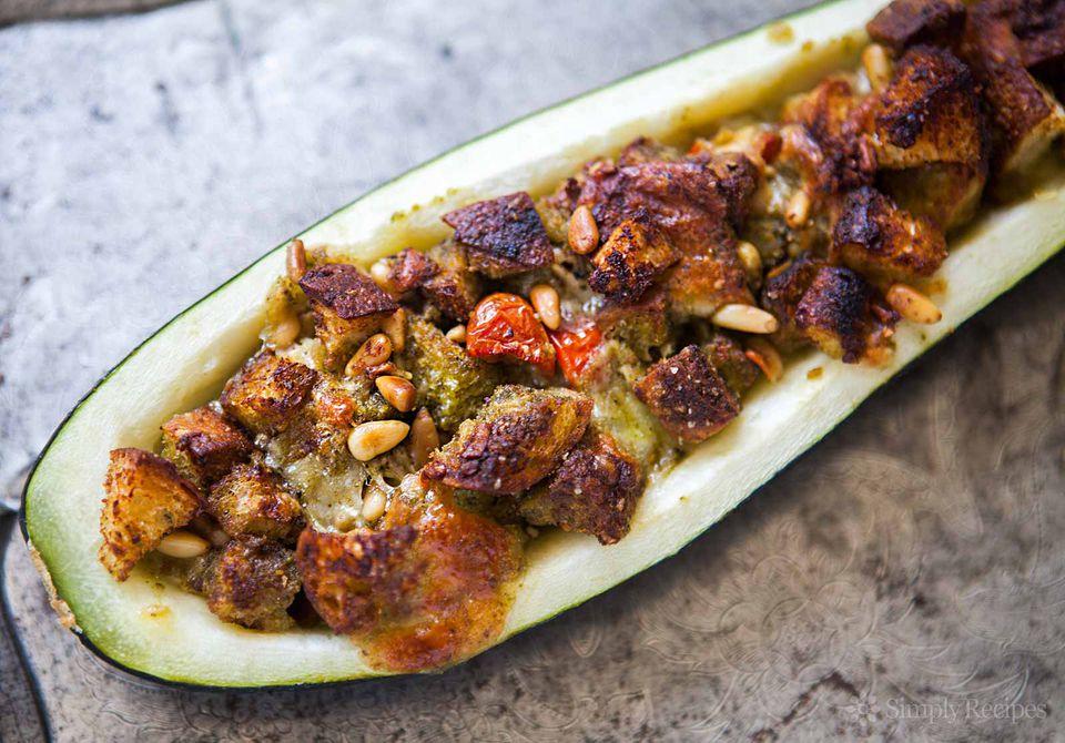 Pesto Stuffed Zucchini