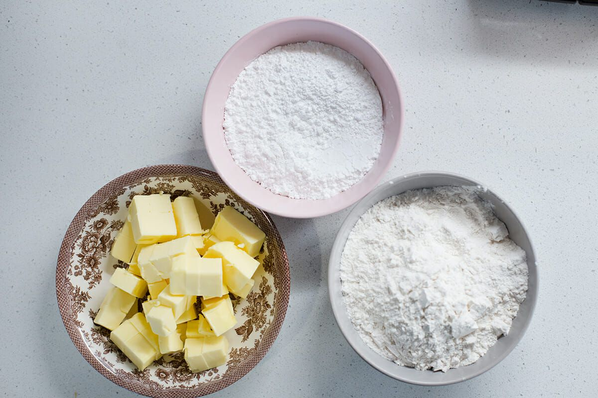 Ingredients for shortbread cookies: Butter, powdered sugar, flour