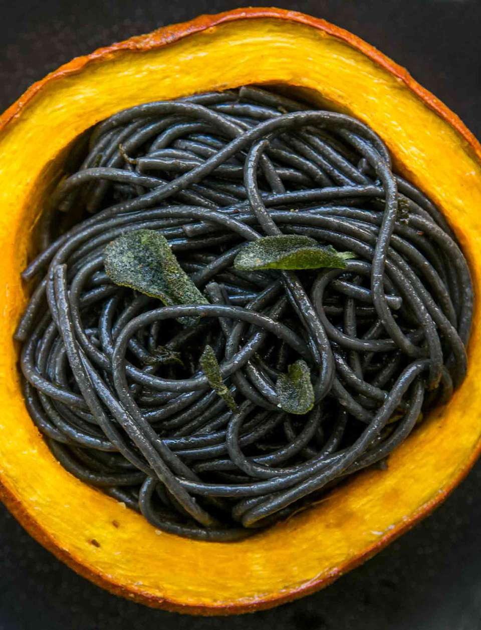 Squid Ink Pasta with Pumpkin in Browned Butter Sage Sauce