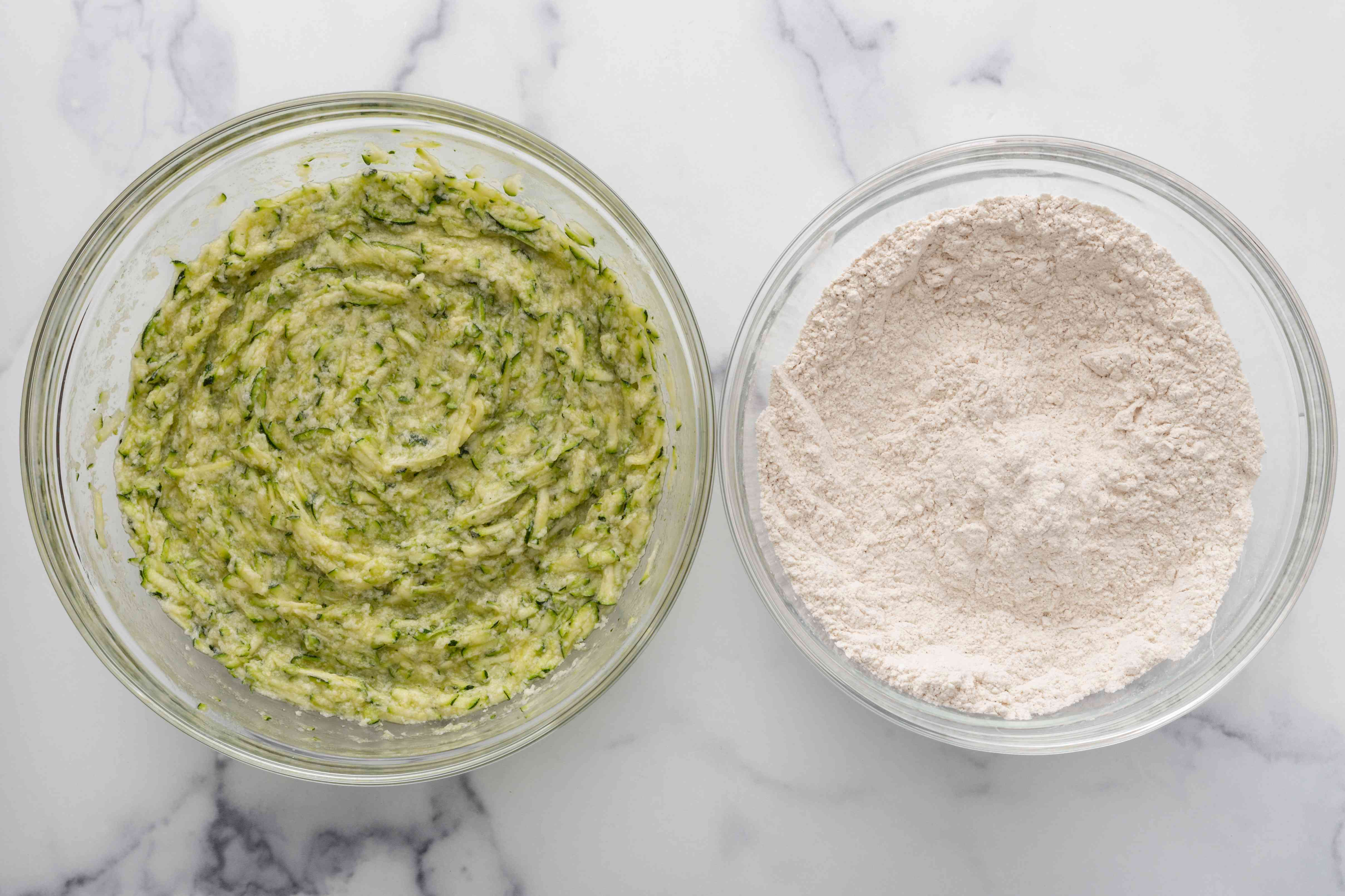 Zucchini mixture and flour mixture in set side by side to make a zucchini muffin recipe.