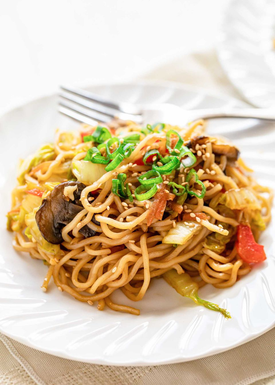 Plate of homemade vegetable lo mein.