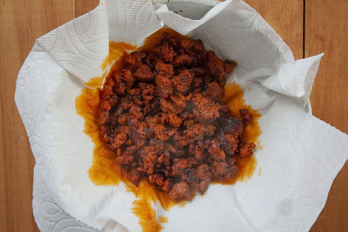 Breakfast Taco Recipe Eggs drain the chorizo