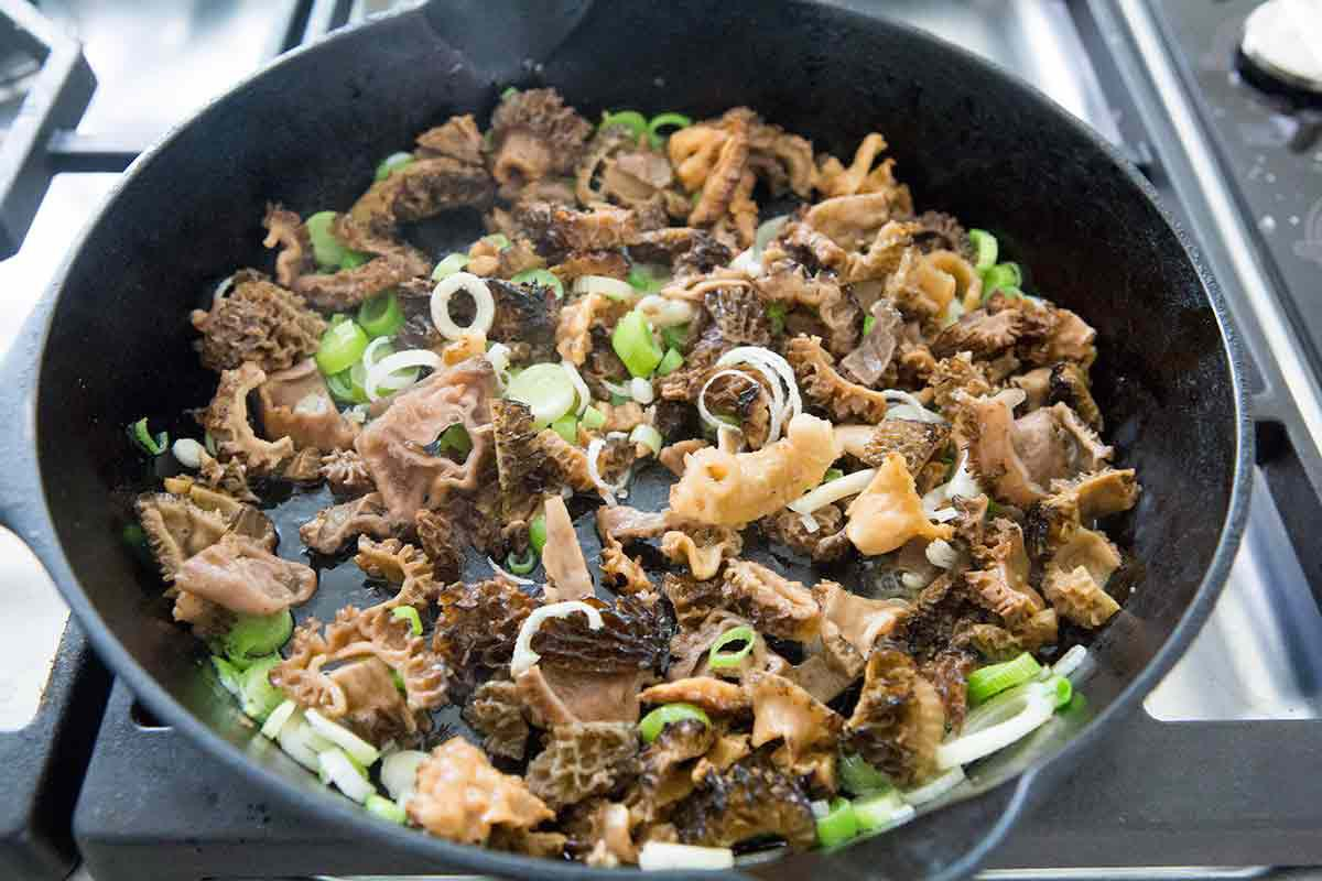 Saute the morels with green garlic in butter and olive oil