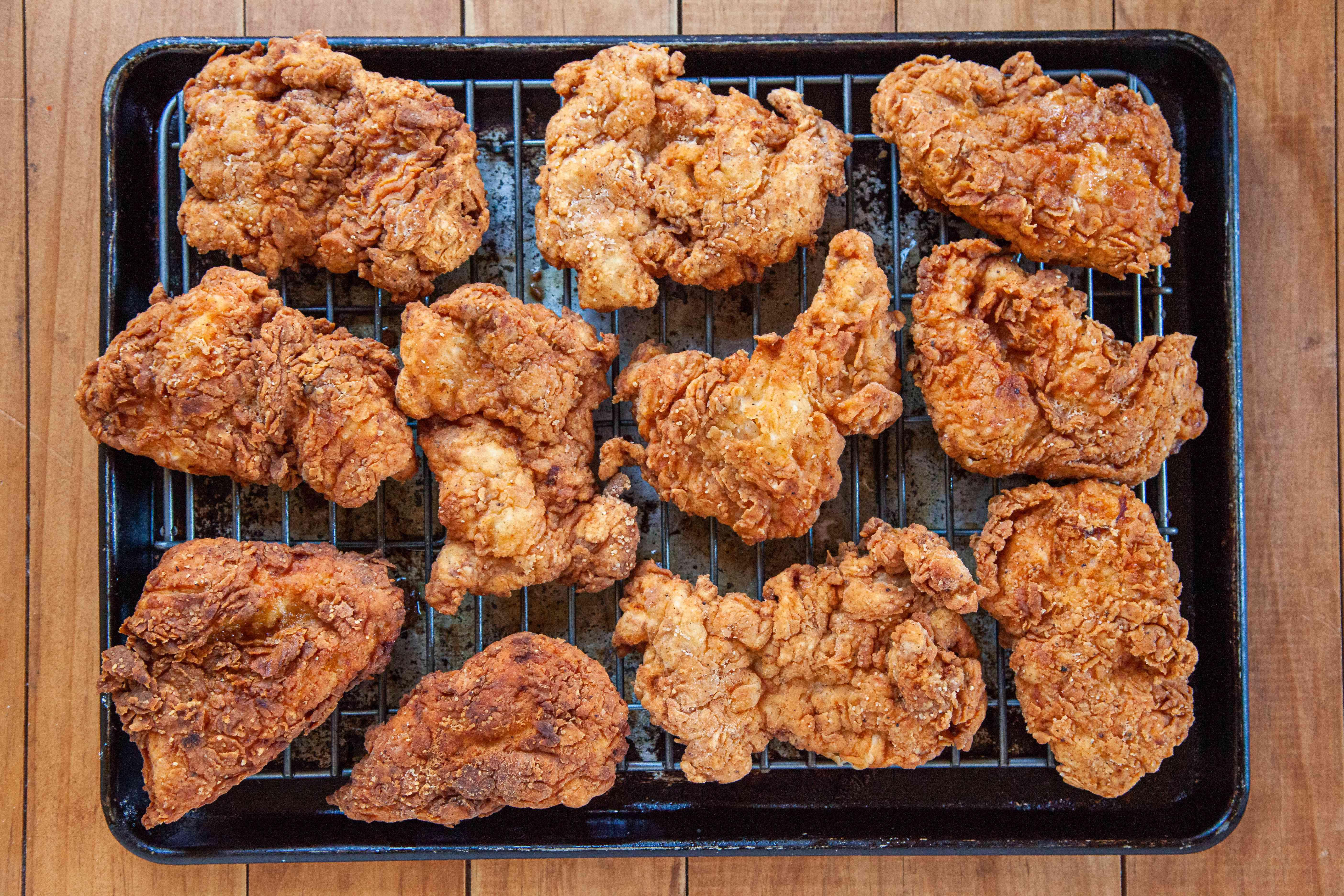 Best Nashville hot chicken set on a cooling rack.