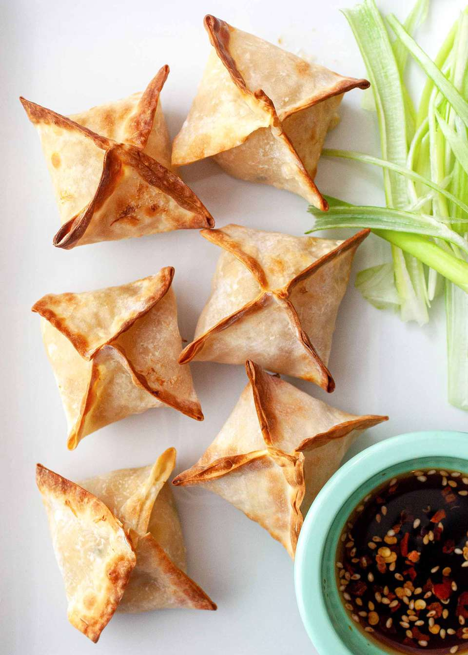 Crispy fried homemade wontons made in the air fryer