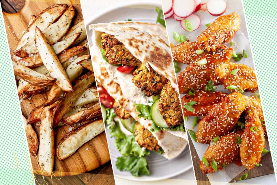 Three air fryer finger food recipes set side by side: french fries, falafel, and chicken wings.