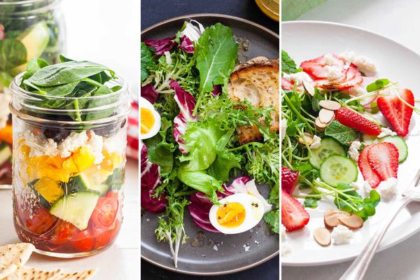 Salad in jar, mixed salad with eggs, strawberry spinach salad