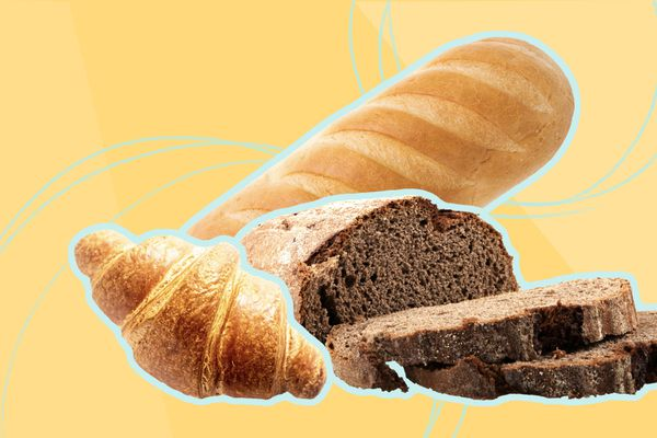 Photo composite of a loaf of Italian bread, a croissant, and a chocolate loaf.