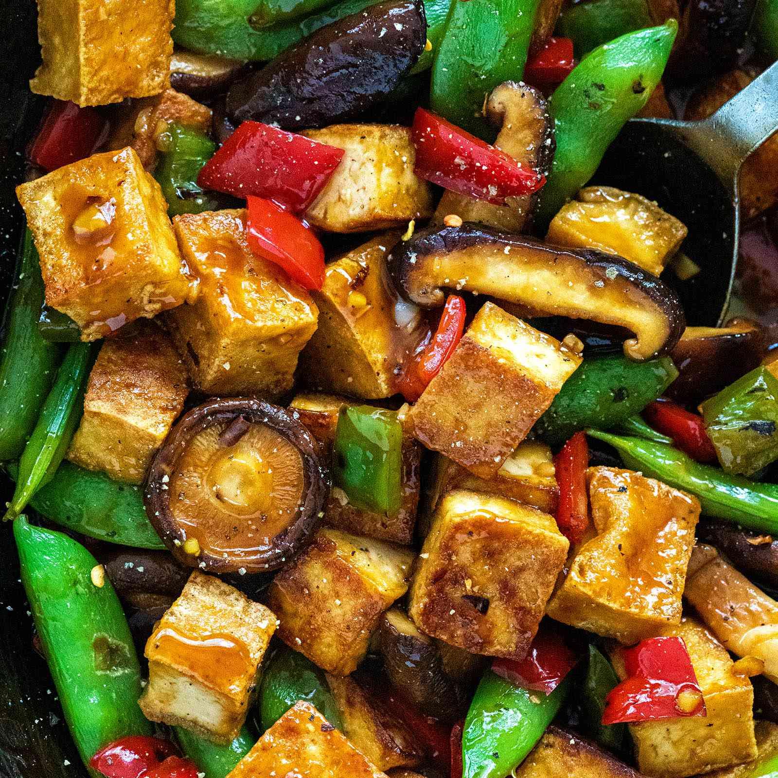 Vegetarian Stir Fry with Tofu with snap peas.