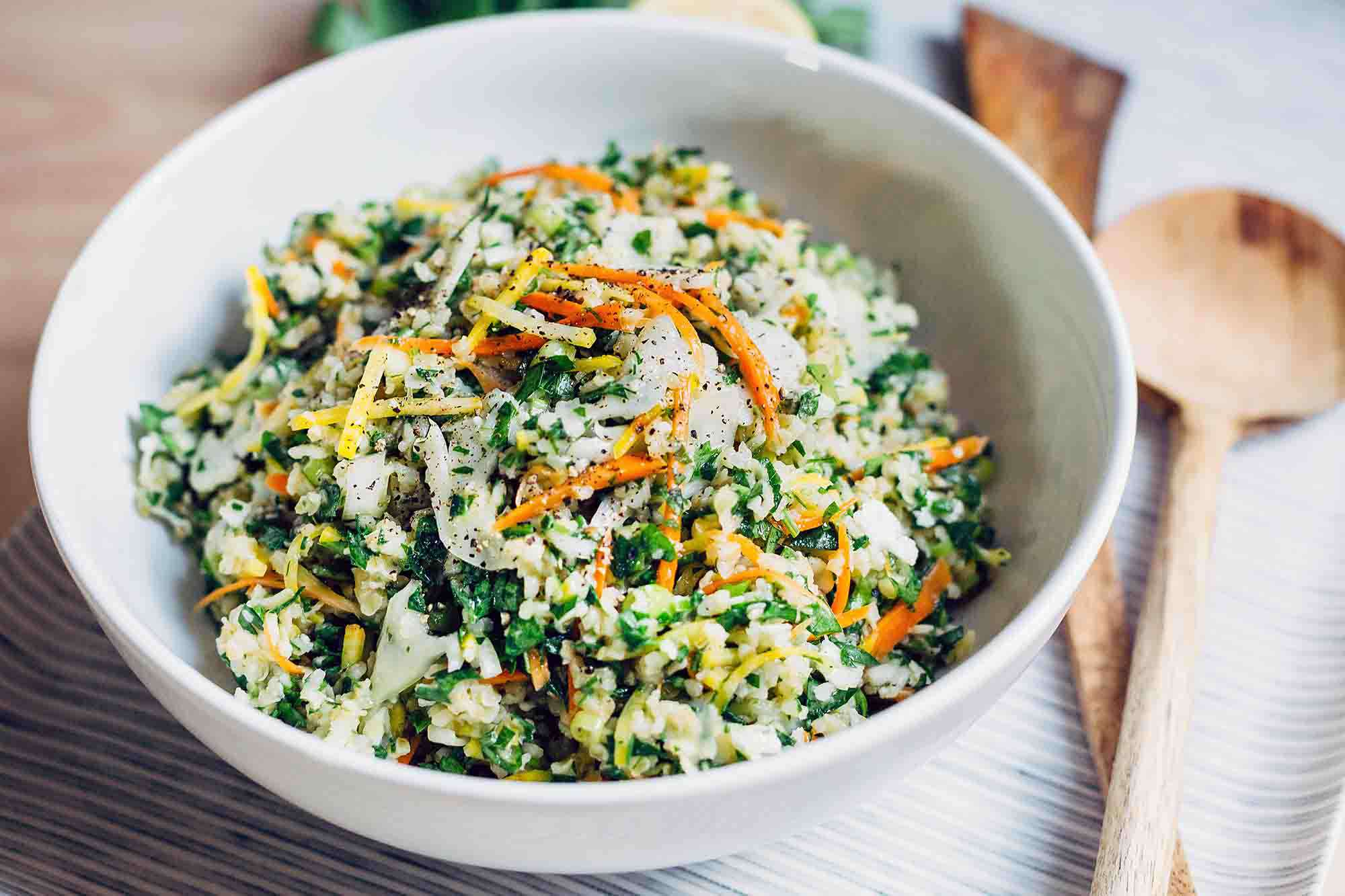 Autumn Tabbouleh with Cauliflower, Carrots, and Golden Beets