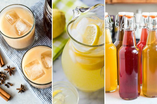 Three summery drink images set side by side. The image to the left is two glasses of iced chai lattes with two large ice cubes in each. The photo in the center is a pitcher of lemonade with slices of lemon inside. To the right are bottles of homemade kombucha.