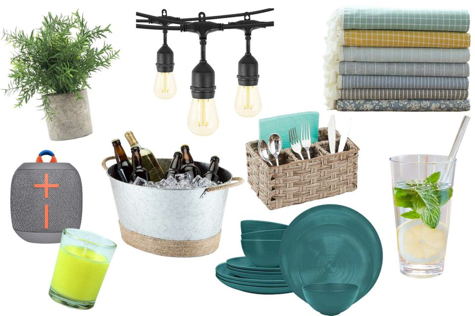 Compilation of outdoor products. Drinkware, lights, silverware and plants.