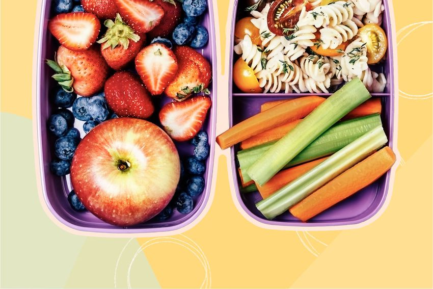 Photo composite of meal prepped fresh cut fruit, sliced veggies, and pasta salad in a travel container