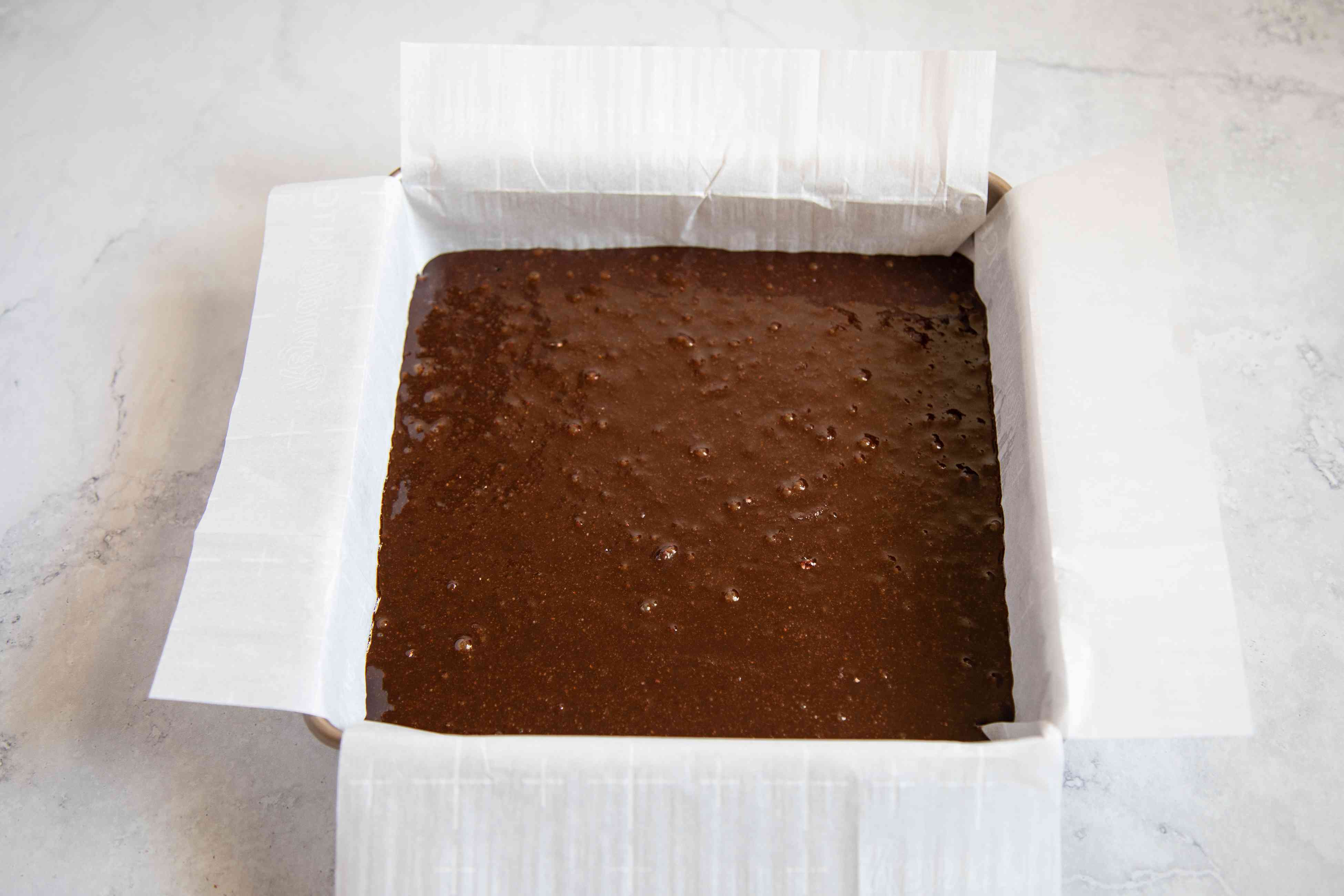 Batter in the pan for Gluten-Free Soy Sauce Brownies.