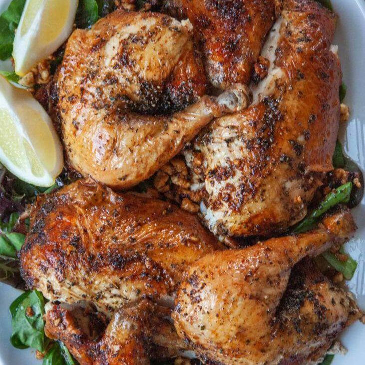 Platter of feta-brined roast chicken