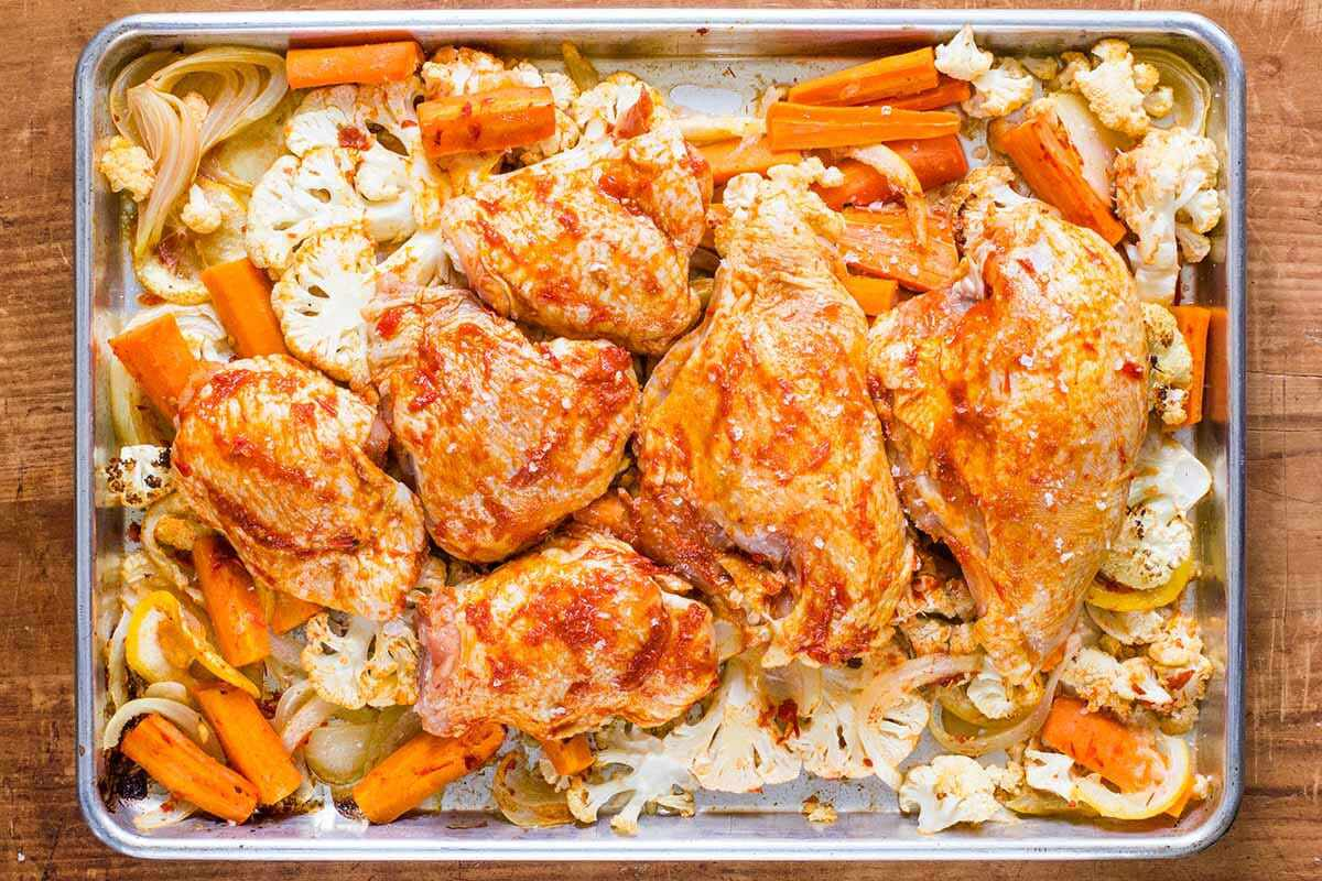 Sheet Pan Meal with Chicken cook the chicken and veggies
