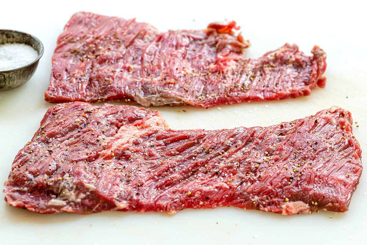 How to Cook Skirt Steak on the Stovetop - skirt steak on cutting board