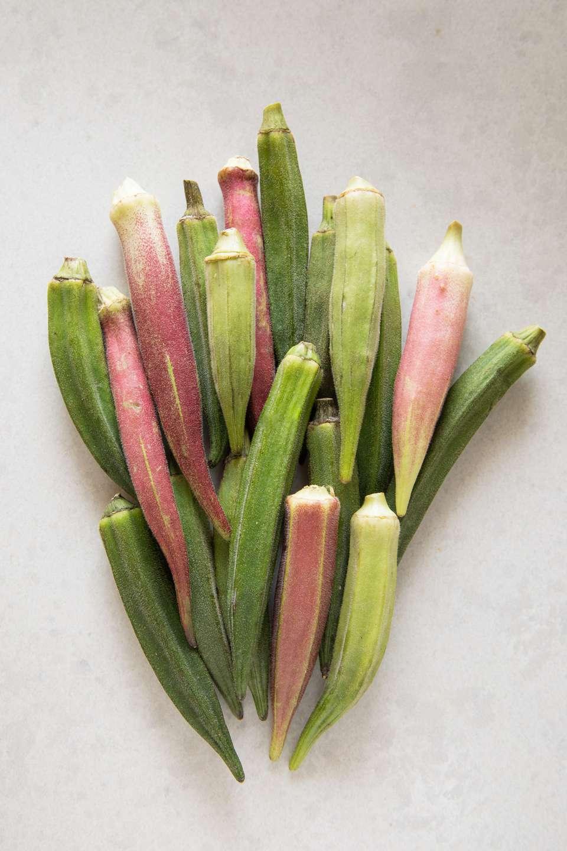 Varieties of pink and green okra