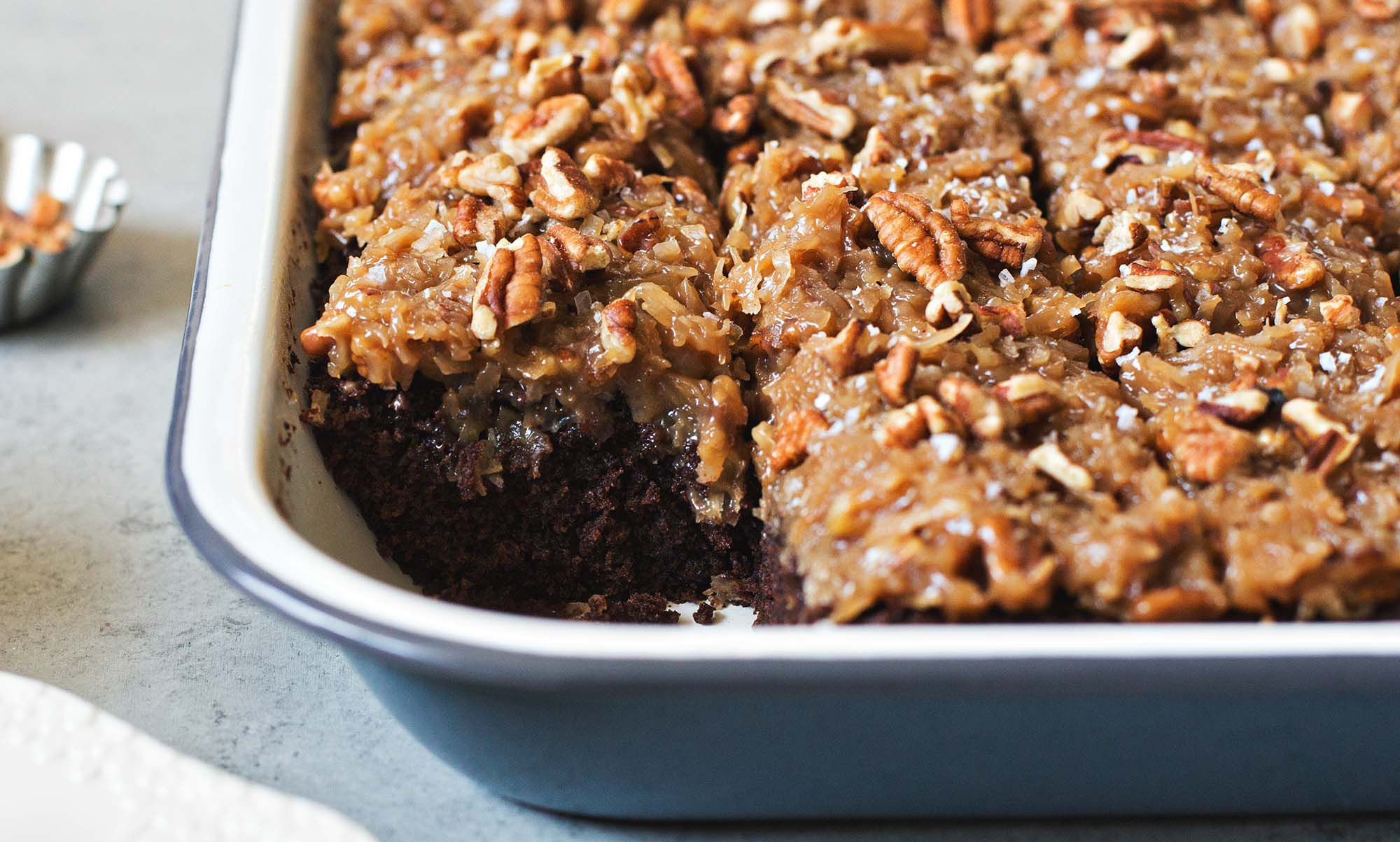 German Chocolate Snack Cake With Coconut Pecan Frosting