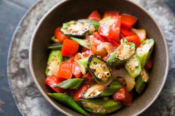 Seared Okra and Tomatoes