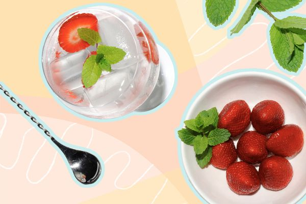Photo composite of a cocktail, mixing spoon, plated strawberries and a sprig of mint