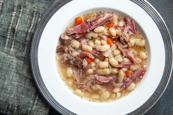 ham and bean soup served in a bowl