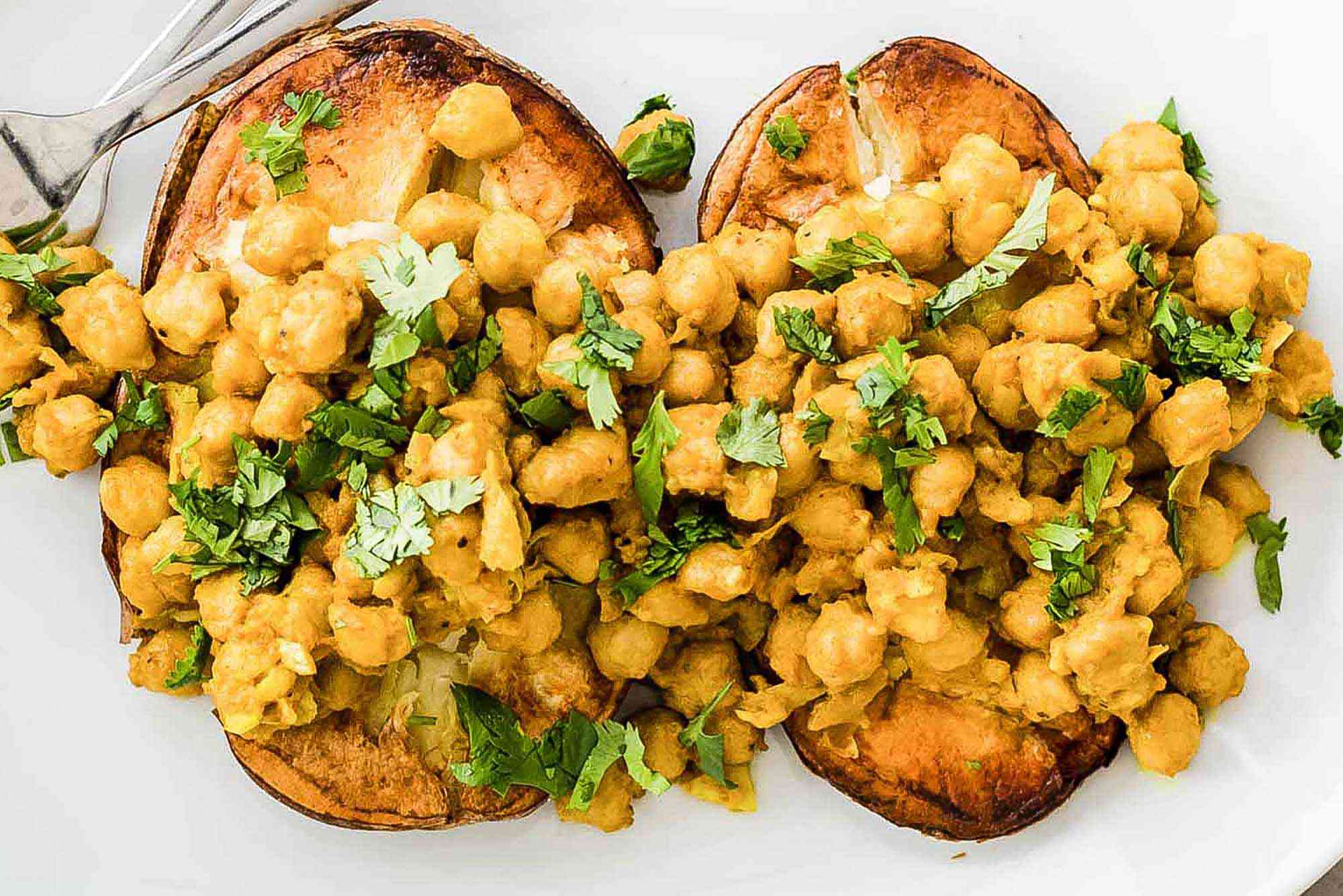 Baked Potatoes with Curry Chickpeas assemble the potatoes