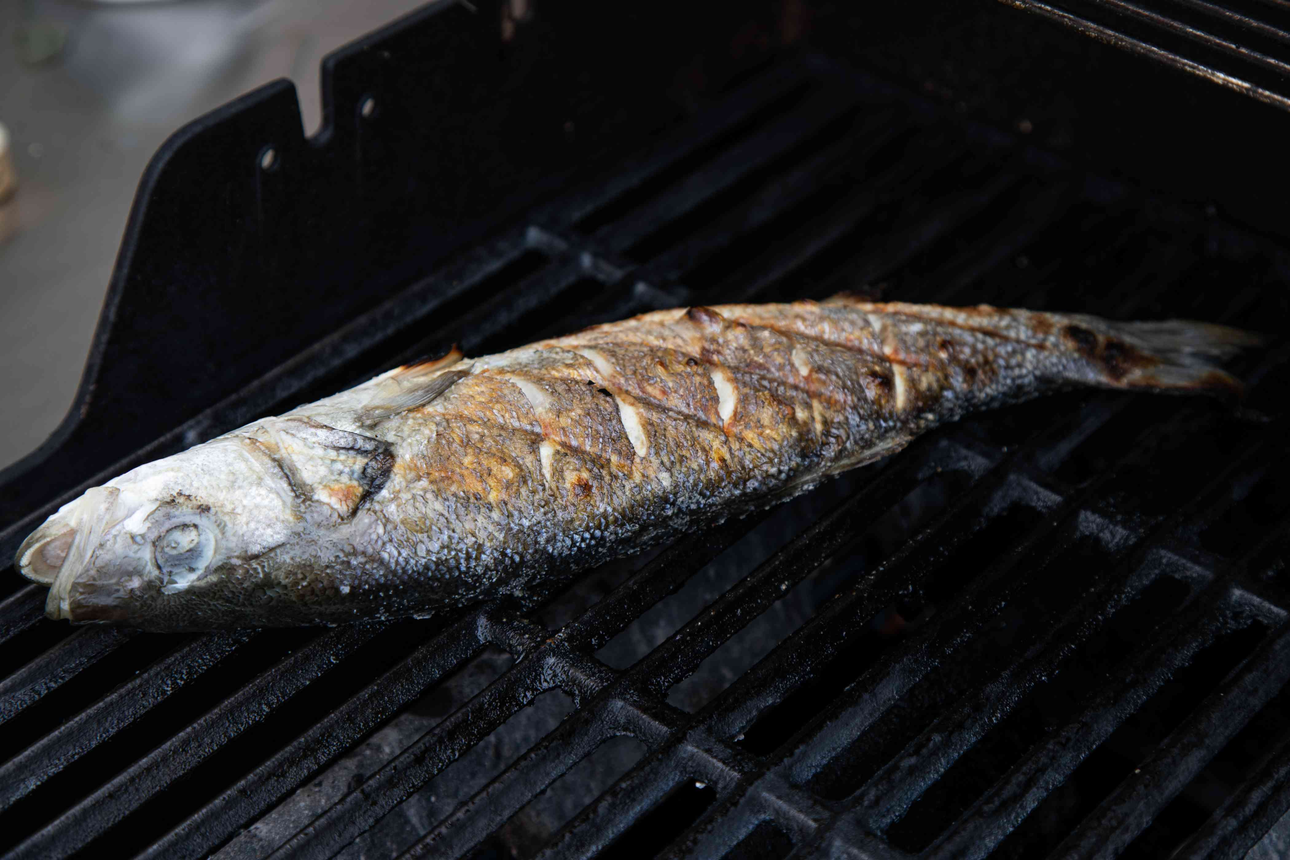 A whole bronzino fish on a grill.
