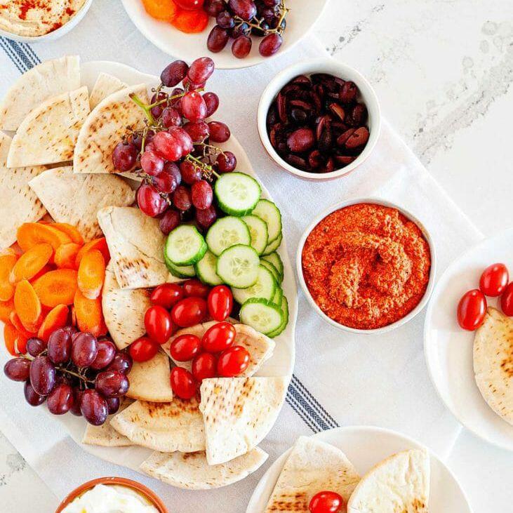How to assemble a mediterranean platter for dinner